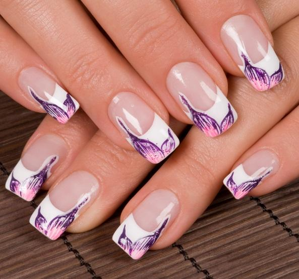 White airbrush nail designs gallery nail art and nail design ideas bold nail design pictures lovetoknow french manicure with flowers prinsesfo gallery prinsesfo Images