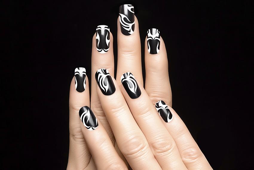 Tribal art nail designs lovetoknow black and white prinsesfo Choice Image