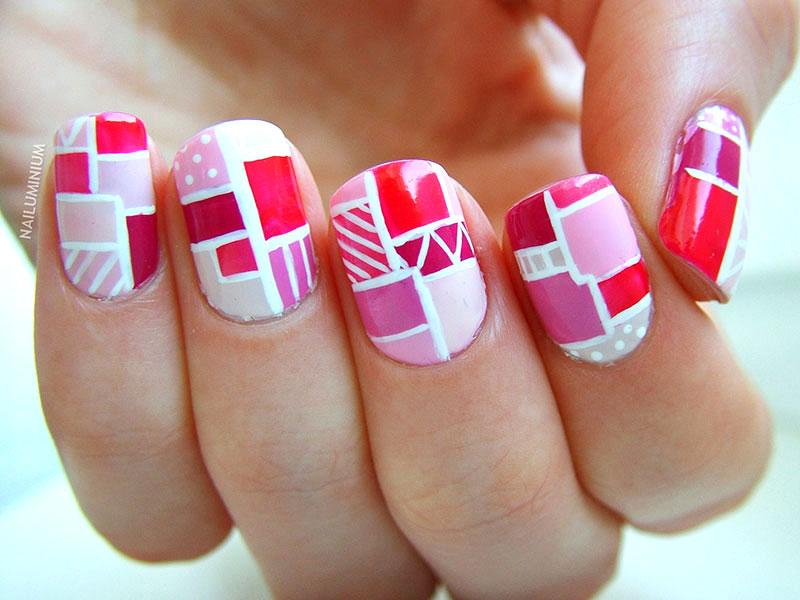 Valentines nail art ideas lovetoknow colorblock nails prinsesfo Image collections