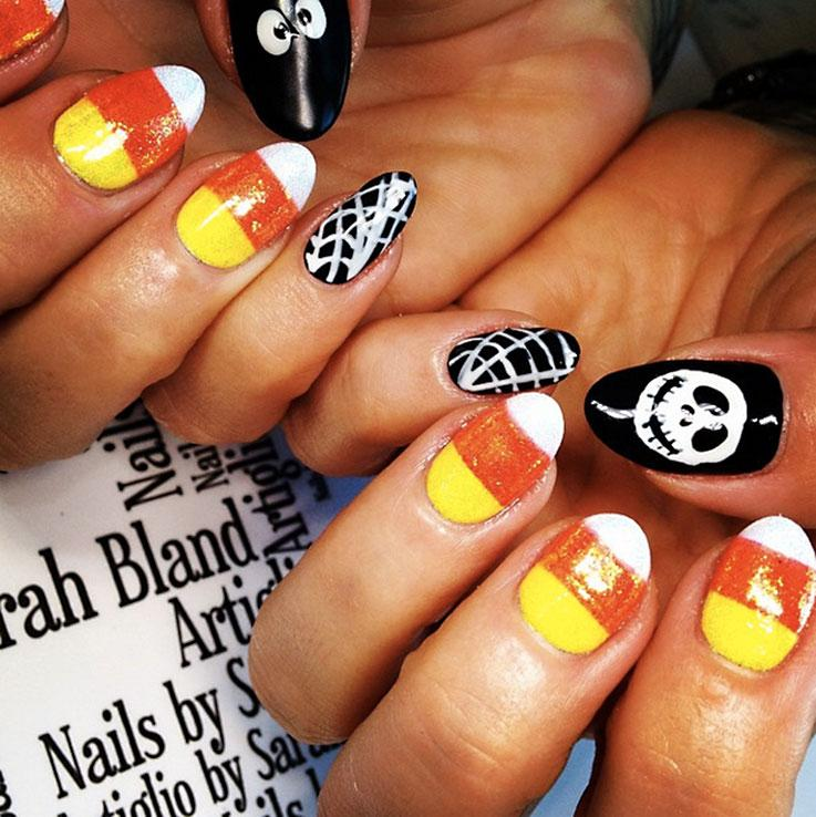 Halloween nails lovetoknow candy corn nail art prinsesfo Image collections