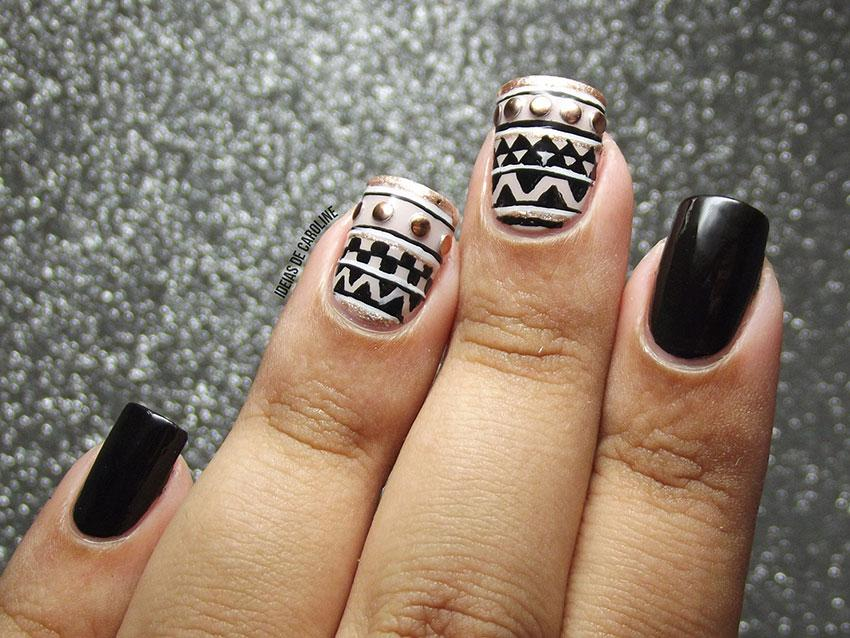 Tribal art nail designs lovetoknow black and gold source colorful tribal prinsesfo Image collections