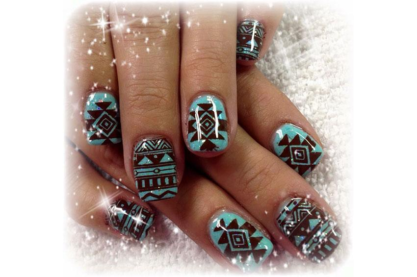 Turquoise and Brown Source · Native American Inspired Nail Art - Tribal Art Nail Designs LoveToKnow