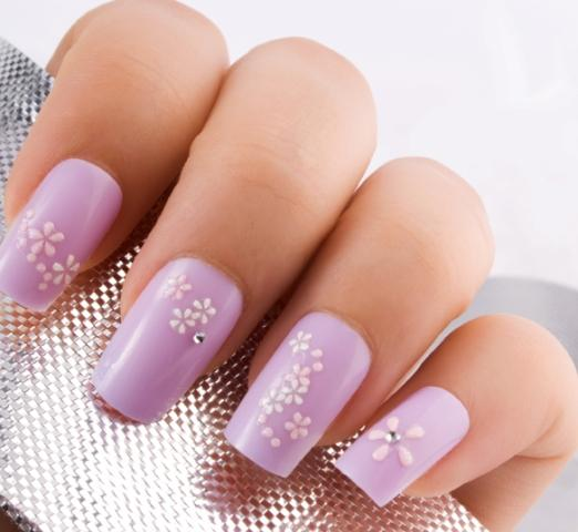 Crystals and flowers on lavender nails - Pictures Of Nail Designs With Flowers LoveToKnow