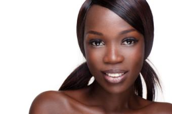 African American woman with even, glowing skin