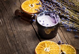Homemade moisturizer with a lavender