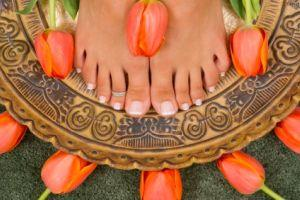 French pedicures work on long nails.