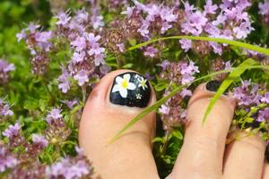 Pedicured toenails with flower designs