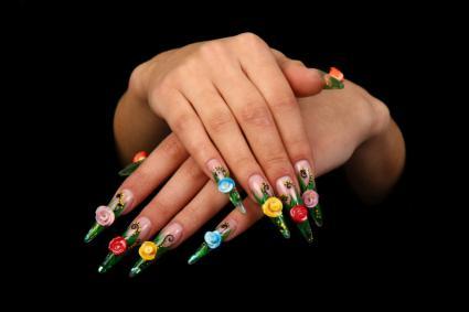unique black and gem nail design