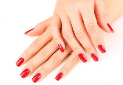 shiny polished red nails
