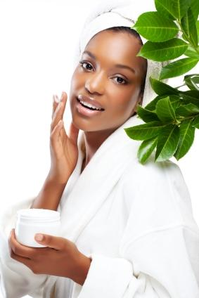 woman doing natural skin care
