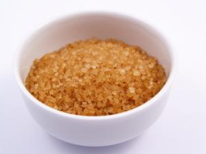 Bowl of brown sugar for a facial scrub
