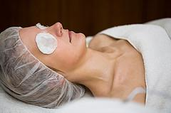 Woman undergoing chemical exfoliation