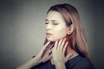 Girl with sore throat