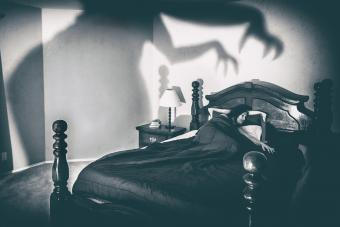 Woman Sleeping On Bed With Spooky Shadow On Wall At Home