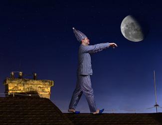 Man sleepwalking under moon