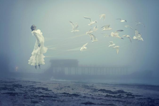 Flying woman and seagulls