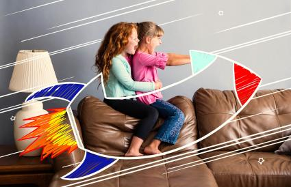 Riding on a sofa rocketship