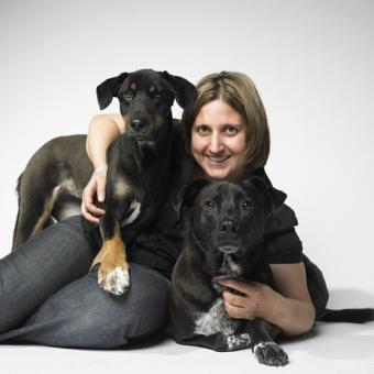 Ines and her dogs Mayday and Gypsy