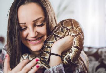 Woman and her pet snake