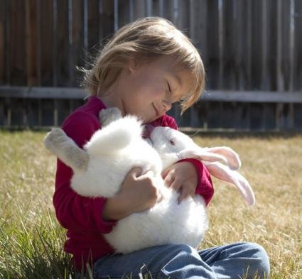 Child with her pet rabbit