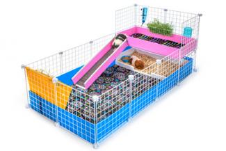 Large blue and pink cage from Guinea Pig Cages Store
