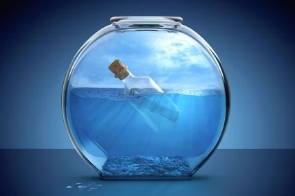 Message in bottle in a fishbowl
