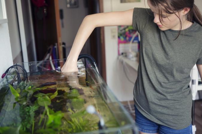 Teenage girl cleaning a home aquarium
