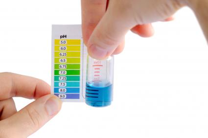 Water pH by comparing the color of liquid