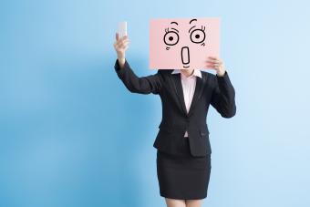 Business woman billboard selfie