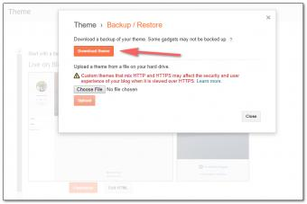 Downloading a blog template from Blogger.
