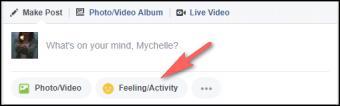 Using Feeling/Activity to Insert Emoji in Facebook