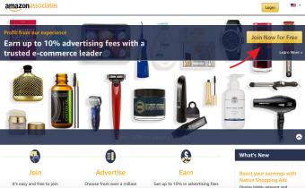 Screenshot of Amazon Associates sign up page