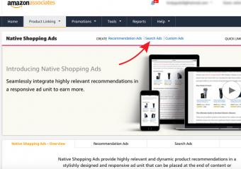 Screenshot of create search ads page