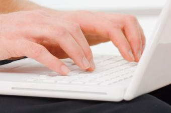 Person typing a blog script on a laptop