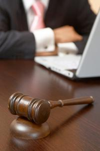 Gavel by laptop