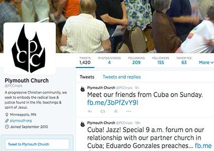 Screenshot of Plymouth Church Twitter Page
