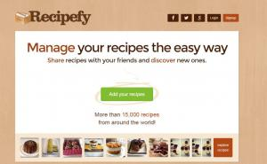 Recipefy.com screenshot