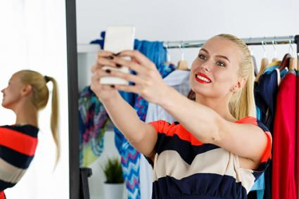 Selfie in wardrobe closet