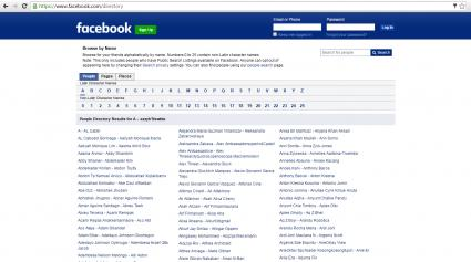 Facebook Directory screenshot