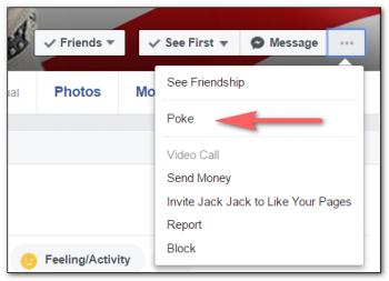 A screenshot of how to poke someone on Facebook.