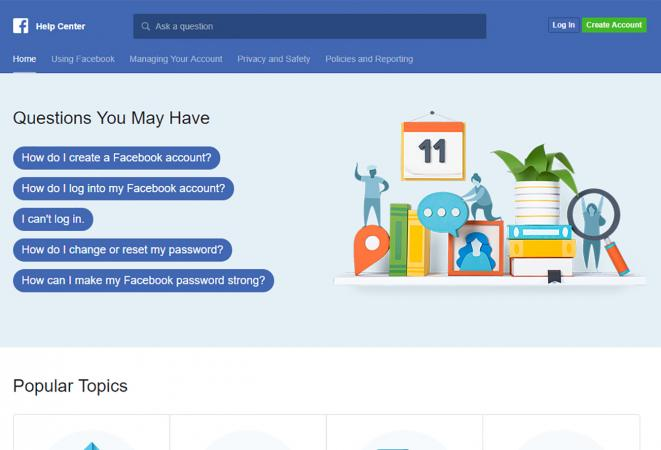 Screenshot of Facebook Help Center