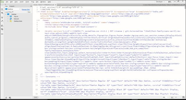 Screenshot of XML code from Blogger template in Dreamweaver.