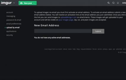 Screenshot of upload by email settings page