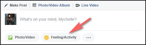 Using Feeling/Activity to Insert Emoji in Facebook
