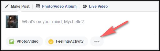 Accessing sticker option in a Facebook post.