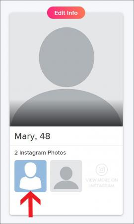 Tinder account profile with Instagram images