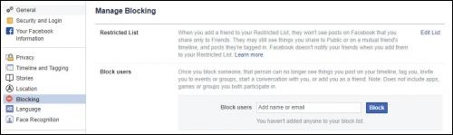 Screenshot of the Manage Blocking page in Facebook