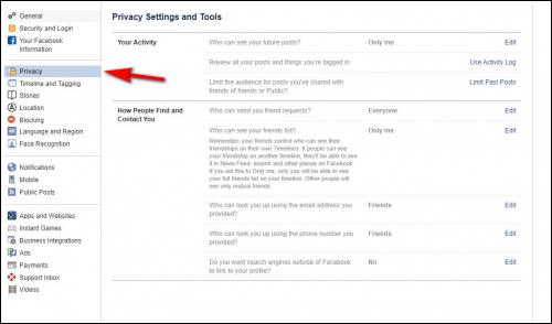 Screenshot of privacy settings screen in Facebook on a desktop computer