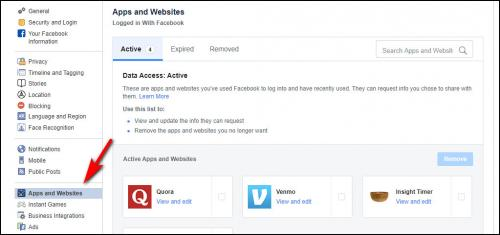 Apps and website privacy settings in Facebook