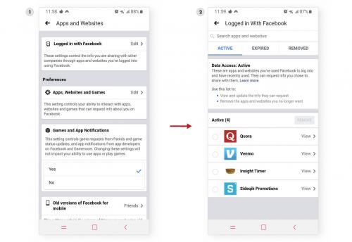 Websites and apps settings screens in Facebook on mobile